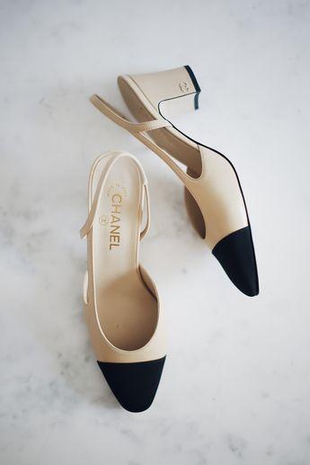 e4bad509d9 Chanel slingbacks. Chanel slingback heels. Black cap toe heel. Nude and black  heels