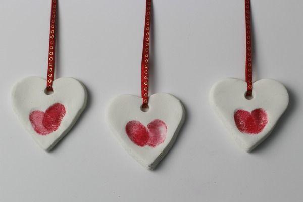 Fingerprint heart ornaments red