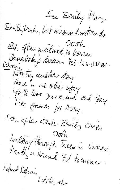 See Emily Play's handwritten lyrics apparently in the hand of its composer Syd Barrett
