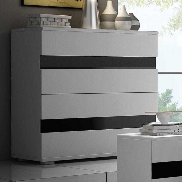 Commode blanc et noir laqué design RIMMEL