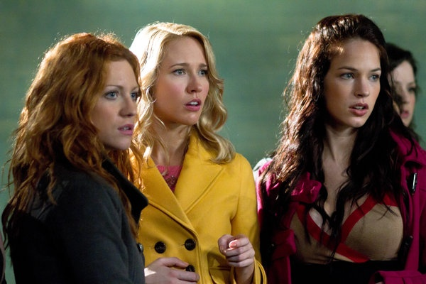 Brittany Snow is Chloe, Anna Camp is Aubrey and Alexis Knapp is Stacie in Pitch Perfect.