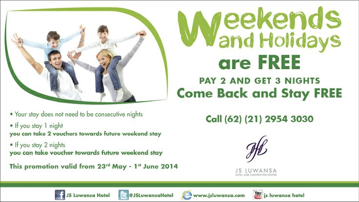 Weekends and Holidays are FREE! Plan your holiday with us.. Get this very special offer only on 23rd May - 1st June 2014.  Book NOW! 021 - 29543030 ext. 6207, 6209, 6206  #hotel #Promotion #holiday #weekend #family