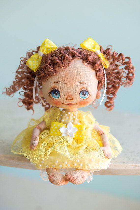 Art doll fabric doll rag doll textile doll interior doll