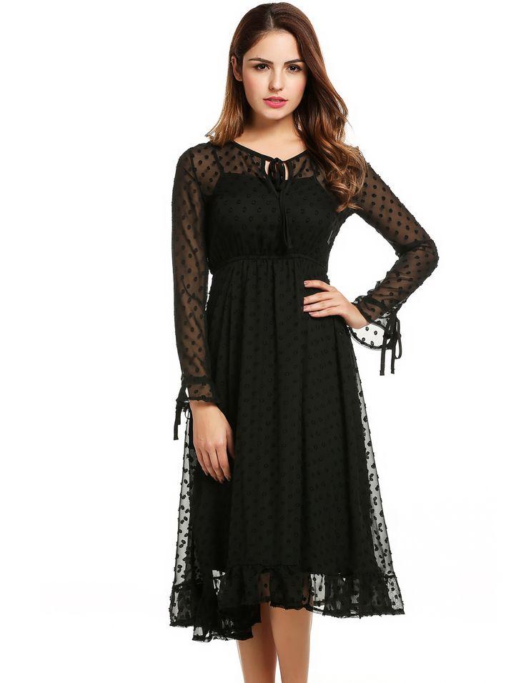 Women Long Sleeve Elastic Waist Chiffon Ruffles Pleated Casual Dresses
