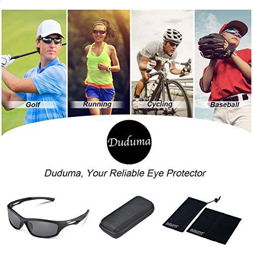 Duduma Polarized Sports Sunglasses for Running Cycling Fishing Golf Tr90 Unbreakable Frame (black matte frame with black lens) - Big Sale Online Shopping USA