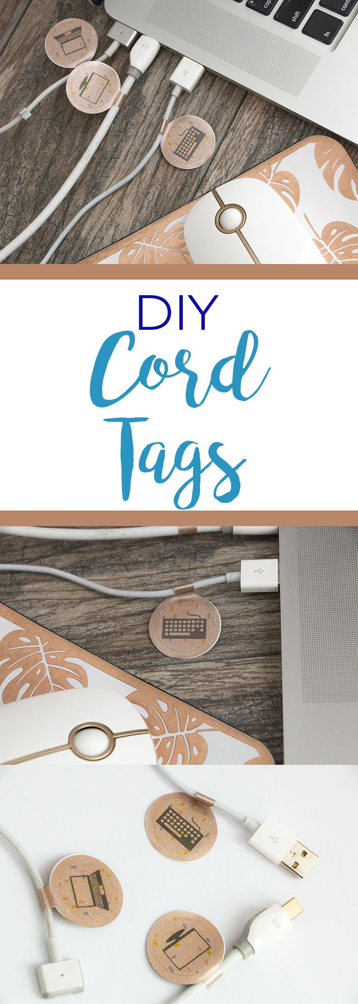 Easily organize your cords with these fun cord tags, using only vinyl and sticker paper.