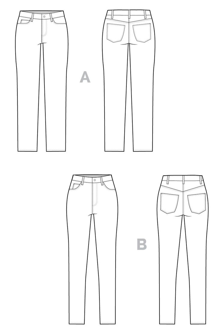 Ginger Jeans pattern // Technical flats // Closet Case Files