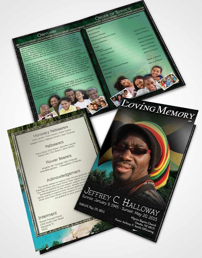 bifold order of service obituary template brochure jamaican natural