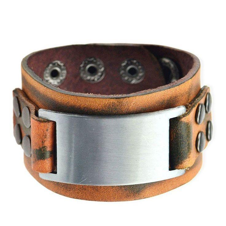 Brown Punk Genuine Leather Cuff Bracelet