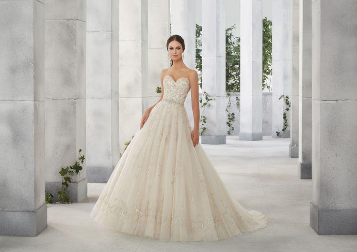 FRANCINE Błyszczący gorset sukni ślubnej Madeline Gardner, kształt litera A Niesamowita suknia z ręcznie wyszywanymi cyrkoniami na gorsecie i spódnicy. …