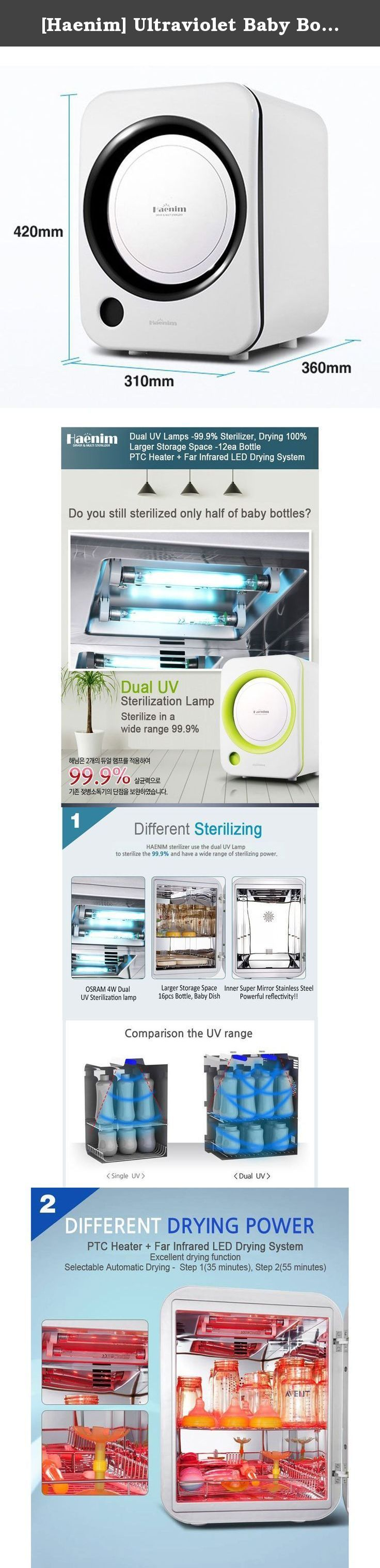 [Haenim] Ultraviolet Baby Bottle Sterilizer HN-01 Multi-Use Dryer 220V (black). Product Features Dual UV Lamps-99.9% Sterilizer,Drying 100%,Larger Storage Space-12ea Bottle and PTC Heater + Far infrared LED Drying System. Different Sterilizing-OSRAM 4W Dual UV Sterilization Lamp,Large Storage Space 16pcs Bottel,Baby Dish and Inner Super Mirron Stainless Steel Powerful Reflictitivity. Different Drying Power- Excellent Drying Function,Selectable Automatic Drying - Step 1 (35minutes,) Step2…