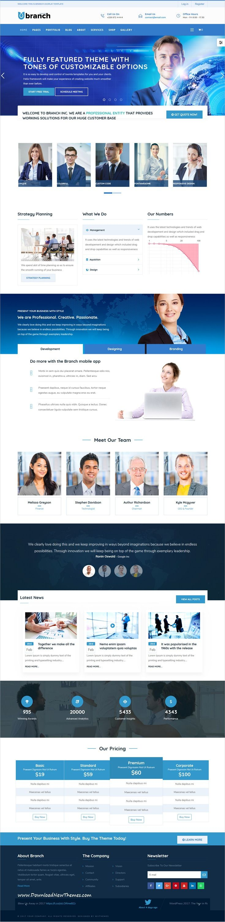Branch is clean and modern design responsive multipurpose #Joomla template for creative #agency website with 8 niche homepage layouts to live preview & download click on Visit