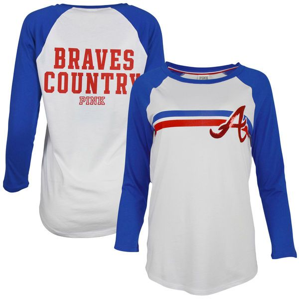 Women's Atlanta Braves PINK by Victoria's Secret White/Royal Bling Perfect Baseball 3/4-Sleeve Raglan T-Shirt 1