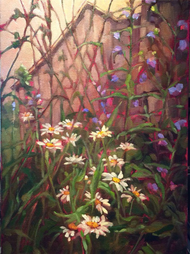 """Days-Eyes"" oil on canvas. 10 x 12. 2015 #fineart #painting #verityblue #kathryn #kaiser #landscape #floral #oldbuilding"