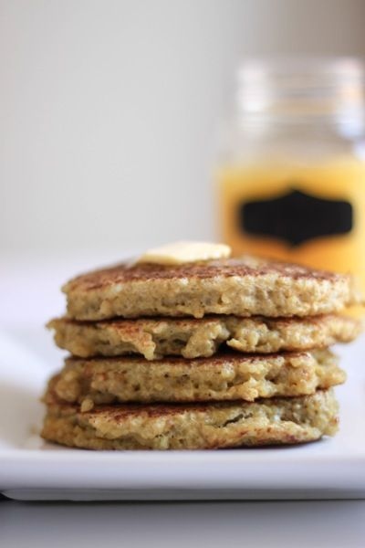 Quinoa pancakes. A quick and delicious breakfast option that can be made using leftover quinoa. This is a great way to change things up from the usual pancakes, and these ones don't have any protein powder. Can't wait to make these for breakfast again!