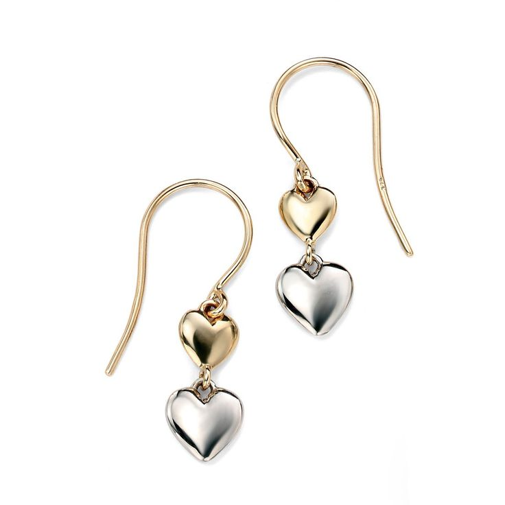 Hallmarked 9ct Yellow & White Gold Heart Earring - These elegantly designed earrings from the Elements Gold collection are expertly crafted from hallmarked 9ct mixed gold in an enchanting and everlasting style: http://ow.ly/Xy5fq