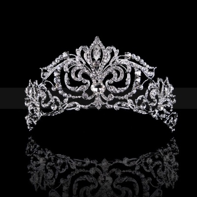 Brilliant Royal Bridal Tiara with Shining Rhinestones and Floral Design