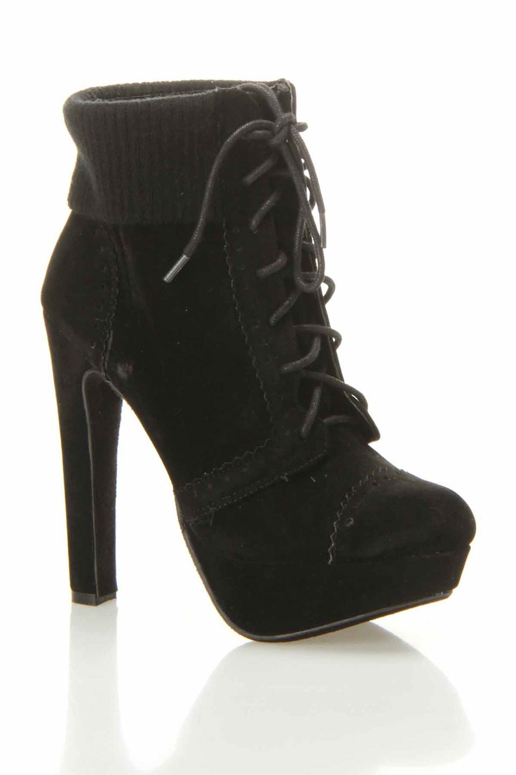 Black Cuff Lace Up Booties