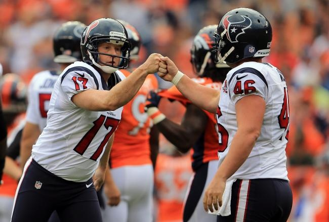 Matt Schaub lost a small chunk of his ear after a brutal hit, but still outplayed Manning, throwing for four touchdowns against a confused Broncos defense Sunday to stake the Houston Texans to a big lead on the way to a 31-25 victory.