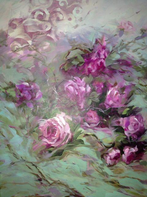 Shabby Chic  Pink Roses by Artist Beth Charles.  bethcharlesart@gmail.com
