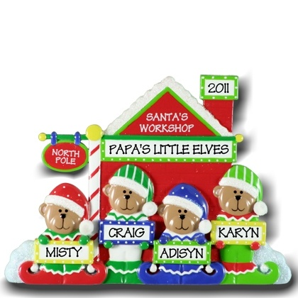 Personalised Christmas Ornaments for Family Of four