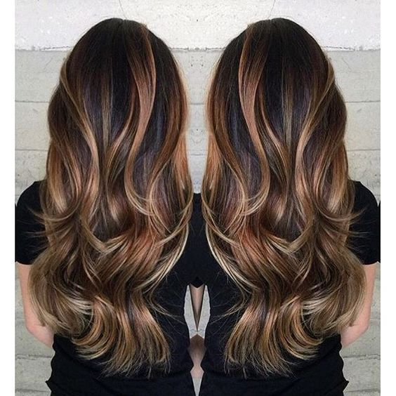 Gorgeous long brunette hair with rich blonde balayage hair color by Janai Hartt www.hotonbeauty.com: