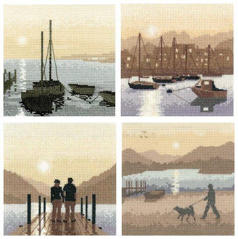 Set of 4 Silhouette Cross Stitch Kits