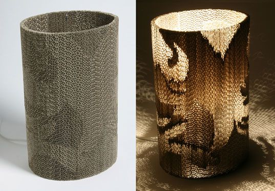 Giles Miller, corregated cardboard lamp, recycling cardboard, sustainable design, recycled cardboard furniture, cardboard fluting, Farm Designs, farmdesigns.co.uk