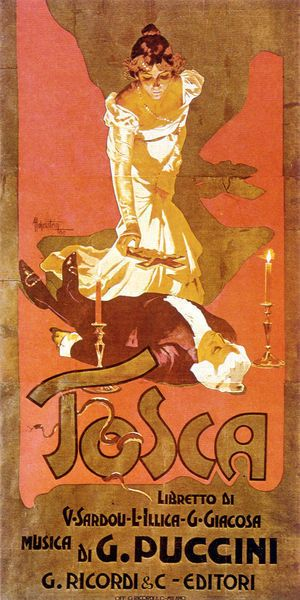 "Original poster for Puccini's opera ""Tosca"""