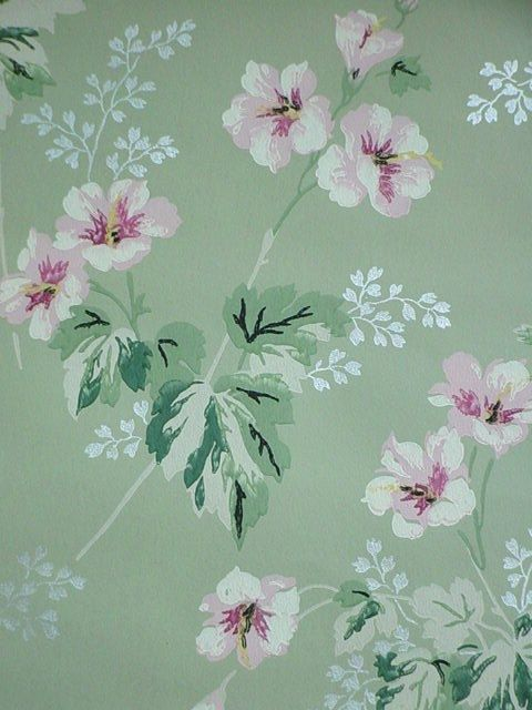 Jadeite Wallpaper Floral 1940s Shabby Cottage by SimplyCottageChic, $14.00