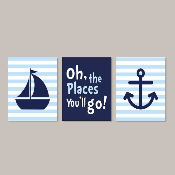 Nautical Wall Art Nautical Nursery Decor Boy by LovelyFaceDesigns