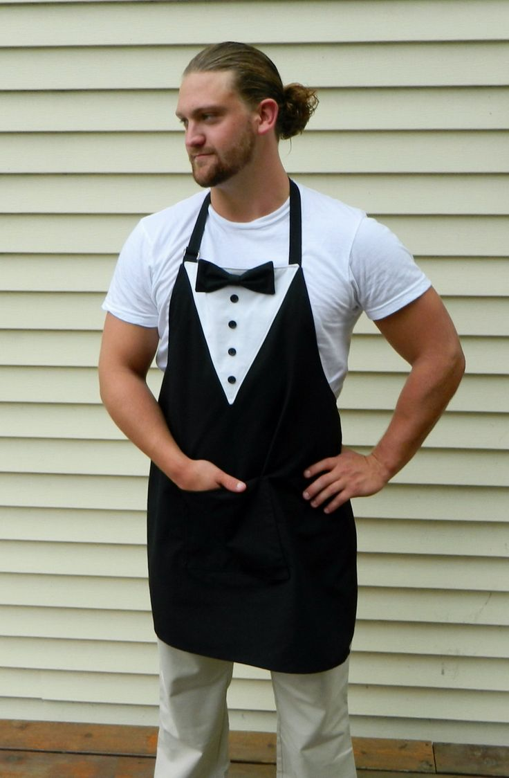 Tuxedo Black and White Men's and Women's Apron Server's Apron Host and Hostess Apron Holiday Apron by NessasNest on Etsy https://www.etsy.com/listing/245695655/tuxedo-black-and-white-mens-and-womens