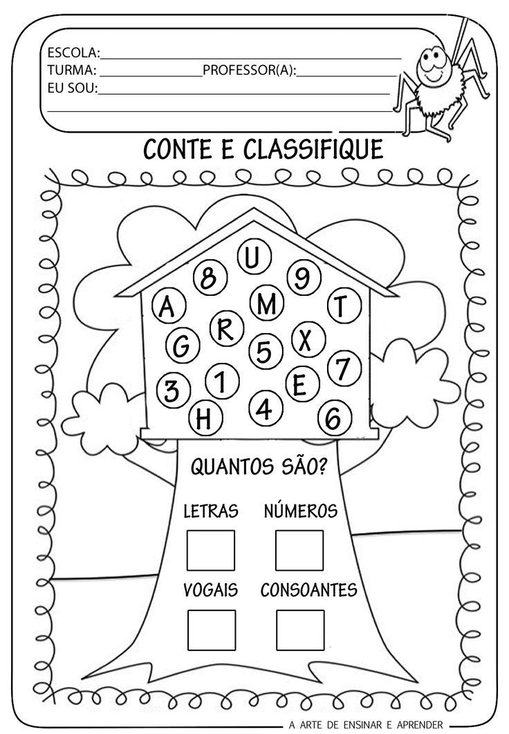A Arte de Ensinar e Aprender: Atividade pronta - Classificação com letras e números