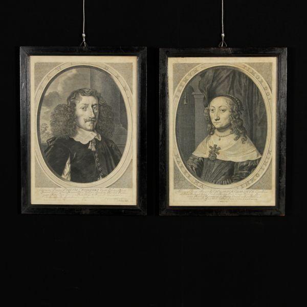 Le due incisioni ritraggono Caterina Carlotta del Palatinato-Zweibrücken e il figliastro Filippo Guglielmo del Palatinato-Neuburg. Presentate in cornici dell'800.