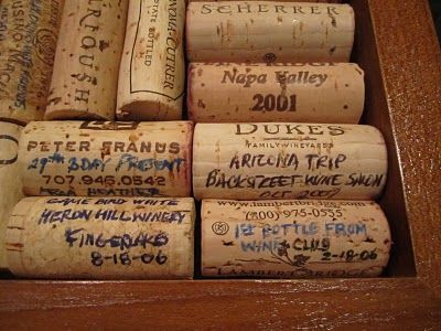Capture special memories on corks by writing down the occasion, place, and date where you drank the bottle of wine.  Save them in a big jar, make a poster board out of them, etc. It is always fun to sift through old corks and remember good times