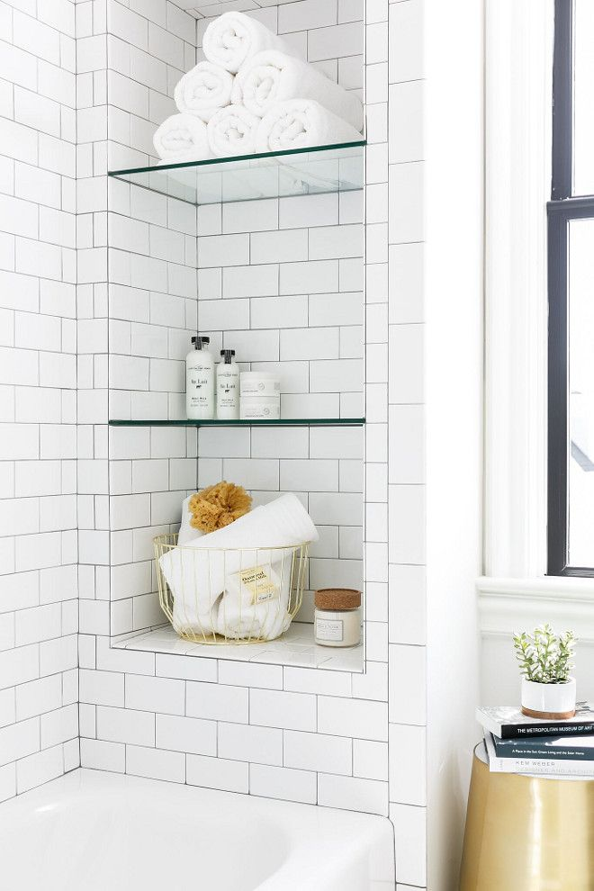 Shower Bath Niche With Subway Tile And Glass Shelves Shower Bath
