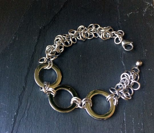 Stainless Steel Shaggy Loop & Large Shiny Rings Chainmail Bracelet  http://etsy.me/1P8qoha