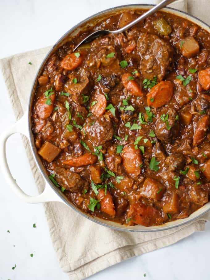 This Beef Guinness Stew is the most delicious, comfort food for cold winter nights. Slow cooked for meltingly soft and delicious beef and ale flavours. This traditional Irish stew recipe can be cooked in the crock pot or oven. It freezes really well and can also be used as the base for a beef andGuinness pie.