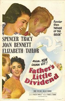 Father's Little Dividend is a 1951 comedy film directed by Vincente Minnelli and starring Spencer Tracy, Joan Bennett, and Elizabeth Taylor. The movie is the sequel to Father of the Bride (1950).  Originally released by MGM, the film entered the public domain in the United States in 1979 due to a failure to renew the copyright.