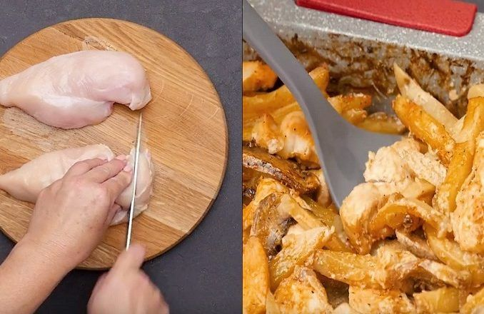 Kuracie prsia na hríbikoch s chrumkavou cibuľkou a pečenými zemiakmi - Receptik.sk