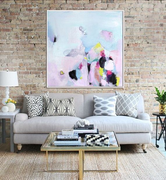 Abstract Art Print , Abstract Giclee Print , Modern Art Abstract , Minimalist Painting , from Original Abstract Acrylic Painitng, Blue Pink
