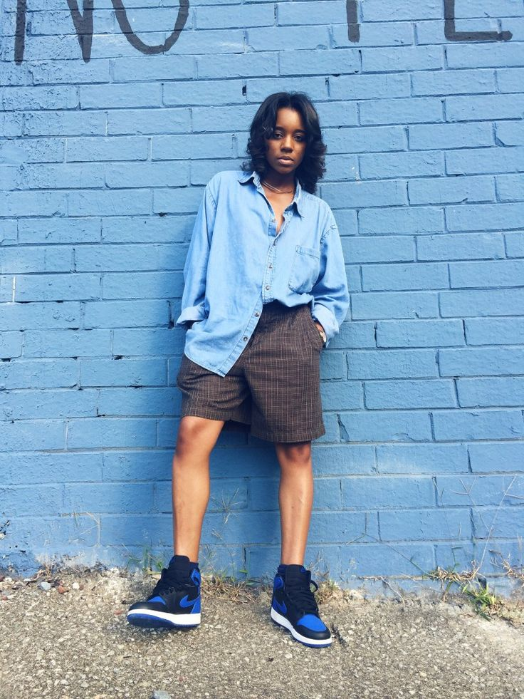 The Zeal Life Tomboy outfits Boy short outfits Jordan ones outfits Chambray shirt outfit