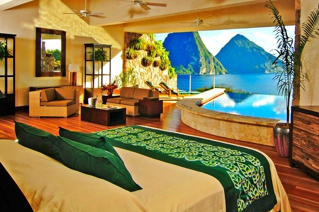 Jade Mountain hotel, St Lucia.......I can take or leave luxury - well, I think so, I've had some during my life, and I can't say any of it impressed me over much (exception is the Orient Express!)......however - this is one place I would LOVE to go!!