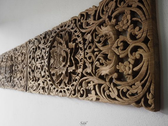 Pair of Carved Wall Panel. Bed Headboard. Wood Carving Sculpture. Wall Hanging. Tropical Teak Wood, Thailand. (90X35 Cm.Extra Thick,Natural)