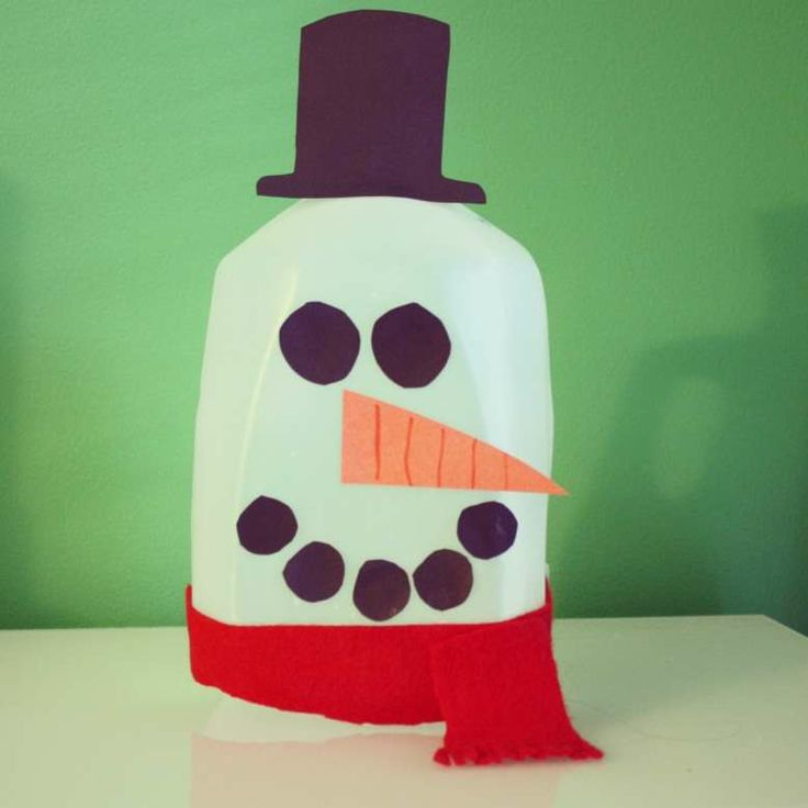 Easy milk gallon snowman crafts pinterest for Christmas crafts with milk jugs