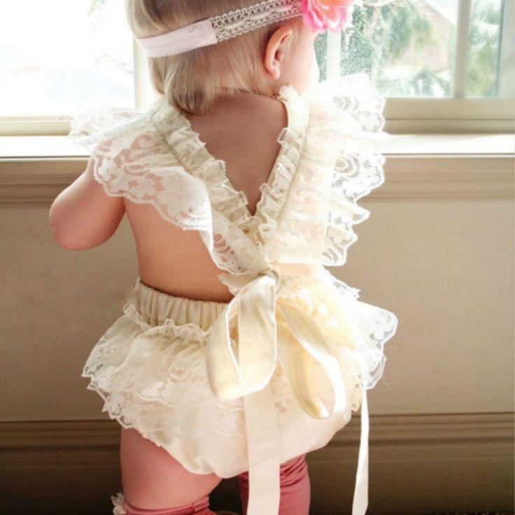 Neugeborenes Baby Mädchen Blumenspitze Rüschen Spielanzugoverall Sunsuit Kleidung Spielanzug