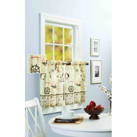 Better Homes and Gardens Nautical Kitchen Curtain Kitchen Curtains, Set of 2 or Valance, Multicolor