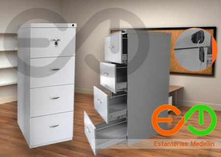 Archivadores metalicos de oficina, 4 gavetas Estanterías Medellin