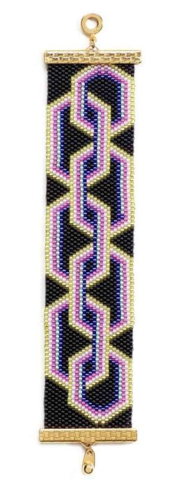 Flat Peyote Stitch Patterns Free | Interlocking links stitched in flat even-count peyote