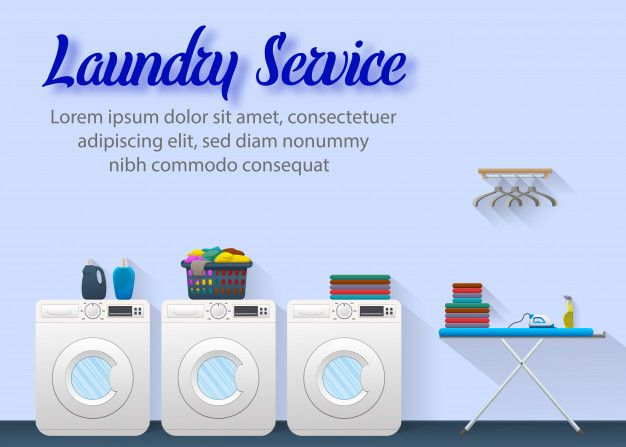 Laundry Service Ads Banner Concept Design Spanduk Desain Banner